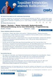 Diplom   Bachelor   Master Informatik, Medieninformatik, Softwareentwicklung (m/w) Java Entwicklung