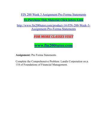 fin 200 week 3 assignmnet pro Roll's critique fin 504: financial management capm  week 3 checkpoint financial forecasting fin 200 week 3 assignment pro forma statements fin 200 week 4.