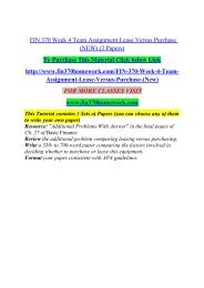 FIN 370 Week 4 Team Assignment Lease Versus Purchase (NEW) (3 Papers)/fin370homeworkdotcom