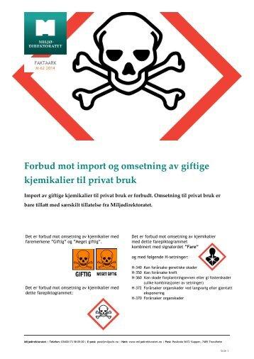 Forbud mot import og omsetning av giftige kjemikalier til privat bruk