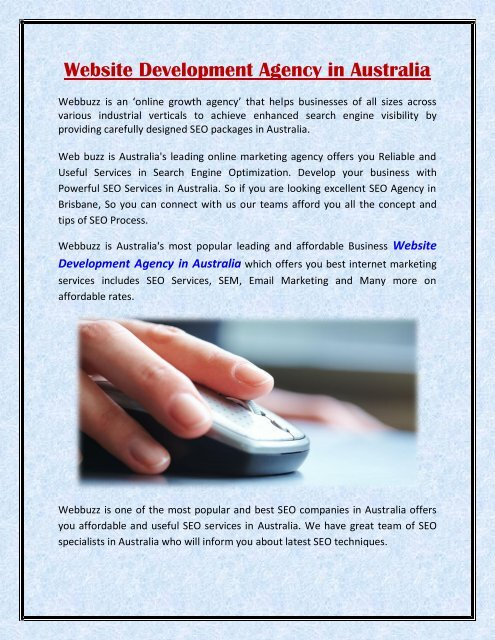 Business Website Development Agency Australia