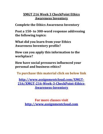 ethical awarness inventory analysis This paper presents a personal ethics awareness inventory analysis of mr dave anderson.