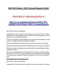 ASH BUS 591 Week 1 DQ 2 Annual Reports