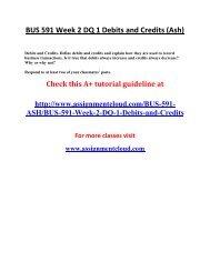 ASH BUS 591 Week 2 DQ 1 Debits and Credits