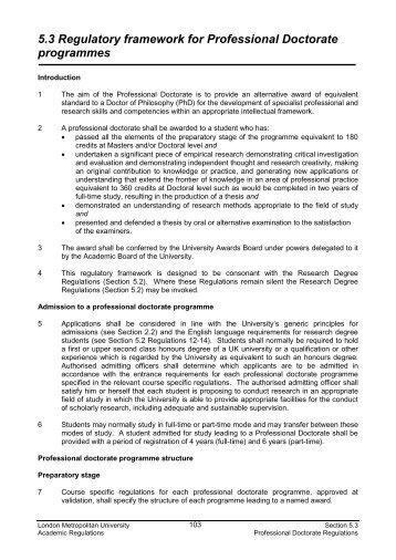 5.3 Regulatory framework for Professional Doctorate programmes