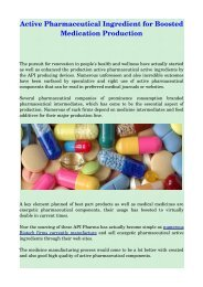 Active Pharmaceutical Ingredient for Boosted Medication Production