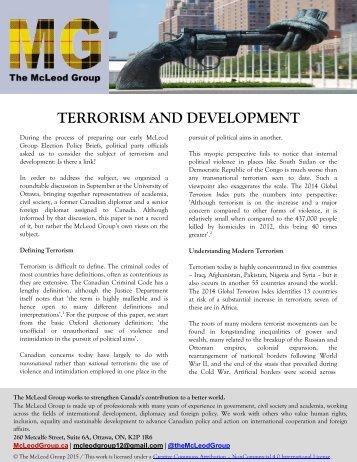 TERRORISM AND DEVELOPMENT