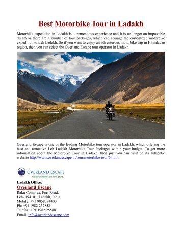 Best Motorbike Tour in Ladakh