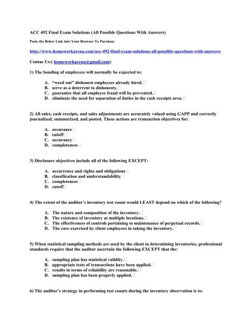 ACC 492 Final Exam Solutions (All Possible Questions With