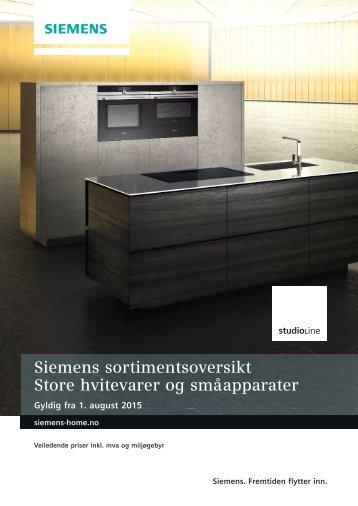 Simens Studio Line sortimentsoversikt (august 2015)