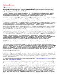 Janssen Pharmaceuticals, Inc. announces ... - Shareholder.com