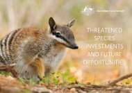 THREATENED SPECIES INVESTMENTS AND FUTURE OPPORTUNITIES