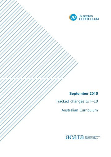 September 2015 Tracked changes to F-10 Australian Curriculum