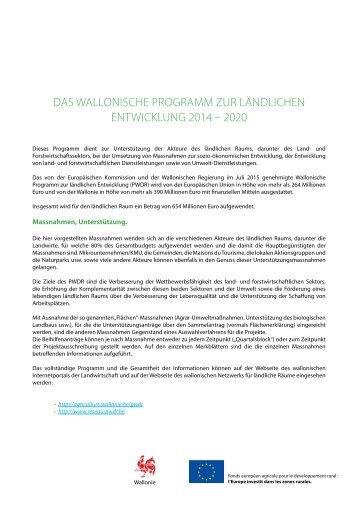 DAS WALLONISCHE PROGRAMM ZUR LÄNDLICHEN ENTWICKLUNG 2014 – 2020