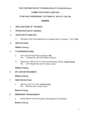 October 21, 2015 Agenda Package