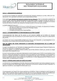 REGLEMENT INTERIEUR DES TRANSPORTS SCOLAIRES