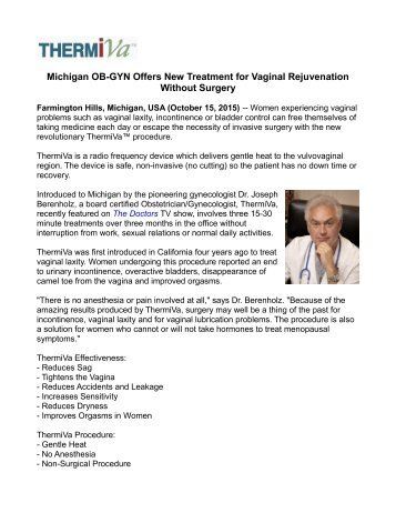 Michigan OB-GYN Offers New Treatment for Vaginal Rejuvenation Without Surgery