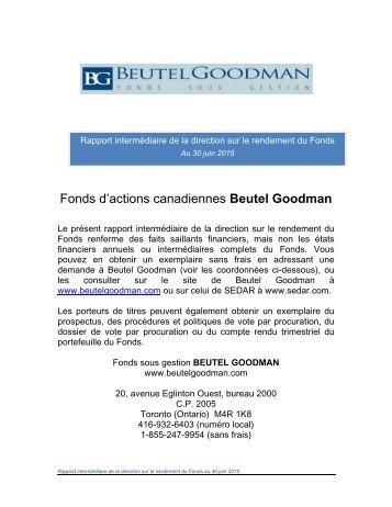 Fonds d'actions canadiennes Beutel Goodman