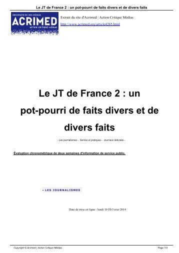 Le JT de France 2  un pot-pourri de faits divers et de divers faits