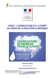 COP21  L'AGRICULTURE ET LA FORÊT AU CŒUR DE LA SOLUTION CLIMATIQUE