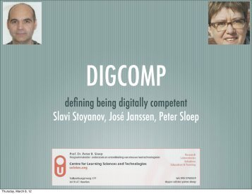 defining being digitally competent Slavi Stoyanov, José Janssen - JRC