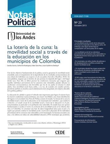 movilidad social a través de la educación en los municipios de Colombia