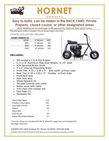 HORNET MINIBIKE PRODUCT LISTING