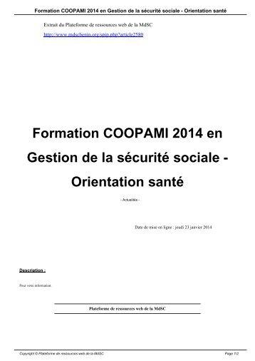 Formation COOPAMI 2014 en Gestion de la sécurité sociale - Orientation santé