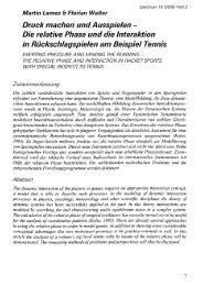 Relative Phase und Interaktion im Tennis - Sportzentrum Universität ...