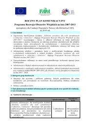 ROCZNY PLAN KOMUNIKACYJNY Programu Rozwoju Obszarów Wiejskich na lata 2007-2013
