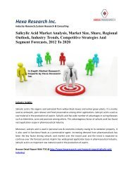 Salicylic Acid Market Analysis, Market Size, Share, Regional Outlook, Industry Trends, Competitive Strategies And Segment Forecasts, 2012 To 2020