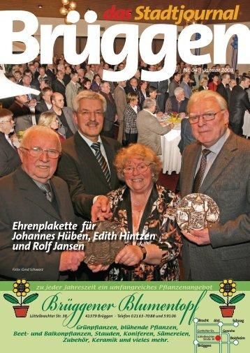 Ehrenplakette für Johannes Hüben, Edith Hintzen und Rolf Jansen