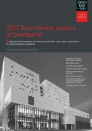 2012 recruitment options at Swinburne - Swinburne University of ...