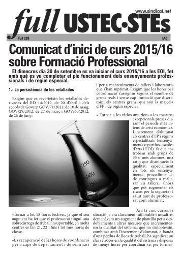 Comunicat d'inici de curs 2015/16 sobre Formació Professional