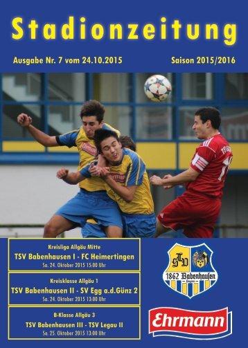 20151024 07 Stadionzeitung TSV Babenhausen - FC Heimertingen