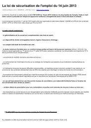 La loi de sécurisation de l'emploi du 14 juin 2013
