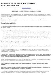 LES REGLES DE PRESCRIPTION DES CONTRAVENTIONS