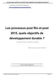Les processus post Rio et post 2015 quels objectifs de développement durable ?