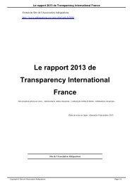 Le rapport 2013 de Transparency International France