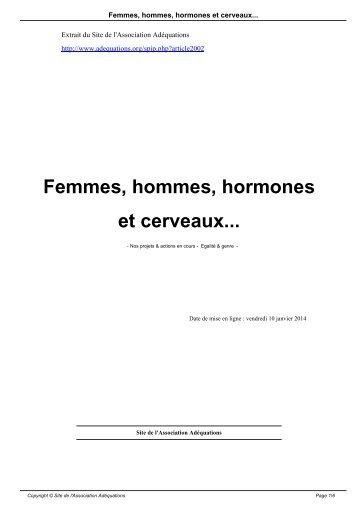 Femmes hommes hormones et cerveaux..