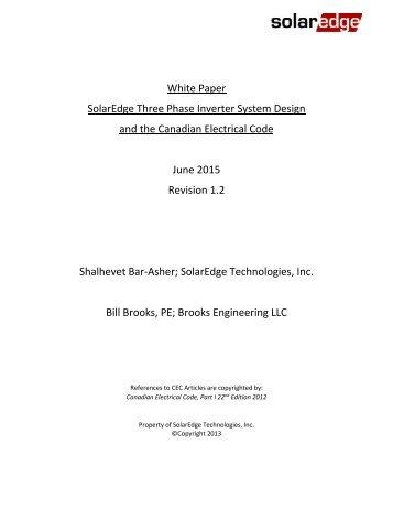 SolarEdge System Design and the NEC