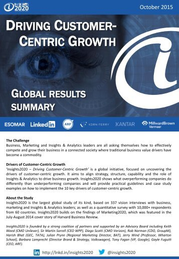 DRIVING CUSTOMER- CENTRIC GROWTH