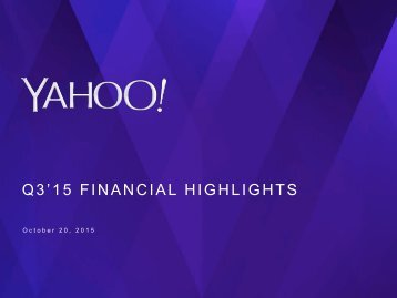 Q3'15 FINANCIAL HIGHLIGHTS