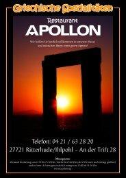 Apollon Speisenkarte
