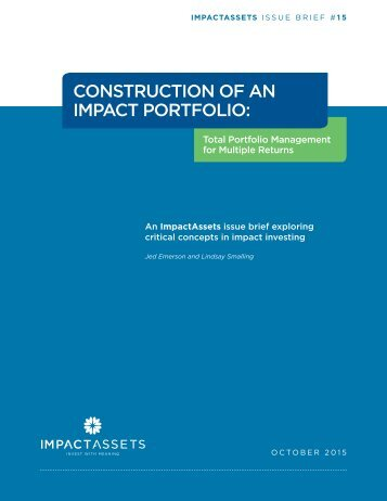 CONSTRUCTION OF AN IMPACT PORTFOLIO