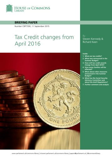 Tax Credit changes from April 2016