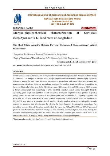Morpho-physicochemical characterization of Kartiksail rice(Oryza sativa L.) land races of Bangladesh
