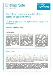 Recent developments in the dairy sector in Eastern Africa