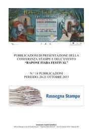 RAPONE FIABA FESTIVAL - Rassegna stampa n.° 1 del 20-21 ottobre 2015