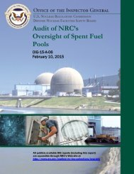 Audit of NRC's Oversight of Spent Fuel Pools